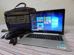 """Notebook Touch ASUS s400CA 14"""" com acessórios"""