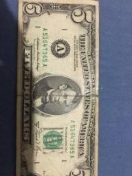 Nota de 5 dollars pra colecionador