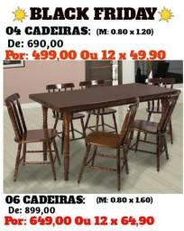 Promoção de Maringa - Mesa de Madeira 4 Cadeira Maciça - Direto da Fabrica