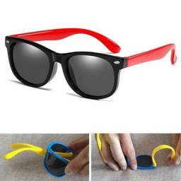 Óculos infantil polarizado, flexível, com proteção uv400