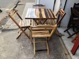 Conjuntos de madeira maciça dobráveis e envernizada