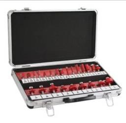 Kit jogo de fresas para Tupia com 24 pçs, lee tools+ maleta