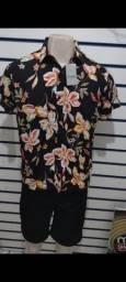 Camisa Flórida de botão tamanho 2
