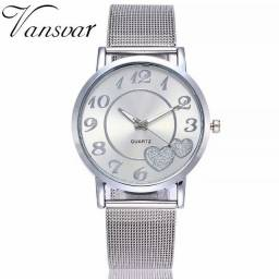 Moda prata malha de banda amor dial relógio casual mulheres de quartzo presente