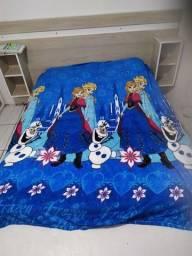 Manta infantil tamanho casal grande nova Frozen elza Ana azul LEIA leia R$39,99