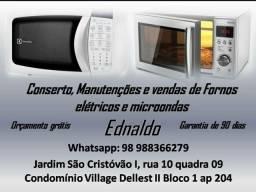 Técnico Ednaldo Cantanhede, consertos, manutenções e vendas de fornos microondas.