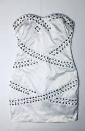 Título do anúncio: Vestido Luxo Branco Forrado Acinturado Balada Bordado Tachinhas