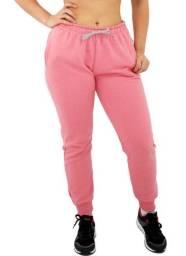 Calça Moletom Feminina de qualidade Lisa Básica Casual Academia Preta ou Rosa-Nova