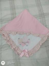 Manta Saída da Maternidade dupla face rosa e branco em algodão 100%