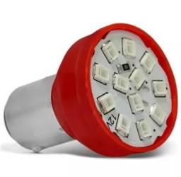 Lâmpada 12 Leds 2 Polos Trava Reta (luz Vermelha De Freio)