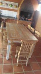 Jogo mesa peroba rosa 2,00x1,00x0,04 com aparador 1,50x0,50
