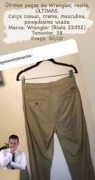 Calça casual bege masculina Wrangler tamanho 38