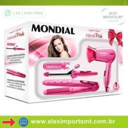 Kit Secador + Escova Modeladora + Prancha Alisadora Rosa Fashion Pink Mondial