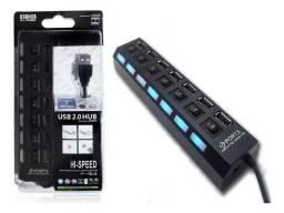 Hub Usb 7 Portas - Com Botão Liga/Desliga - USB 2.0 - Multiplicador Várias Portas Extensor
