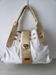 Título do anúncio: Bolsa couro branca e dourada Mônica Sanches