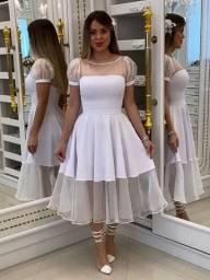 Vestido Noiva Tule Glitter Transparente - Civil Cartório Casamento Pre Wedding