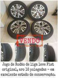 Jogo de rodas liga leve Fiat, aro 16 polegadas com pneus semi-novos