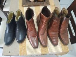 Botas em couro tamanho 38