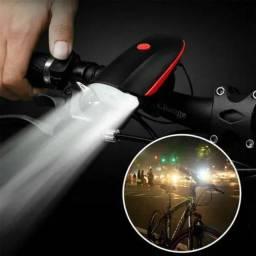 Lanterna de Bike Led Com Buzina 3 Modos Recarregável