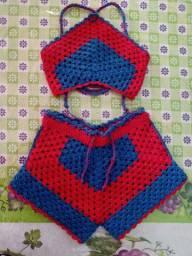Conjunto Crochê Short e Top veste até 2 anos