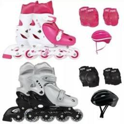 Kit Infantil Patins Roller Completo Proteção Infantil Mor