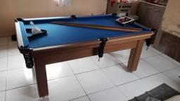 Mesa Tentação Pgto na Entrega Cor Cerejeira Tecido Azul Mod. FLSH6690