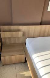 Conjunto com cama+ Colchão ortobom+criados+painel parede