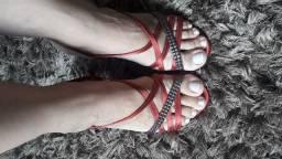 Sandália Vermelha de Salto