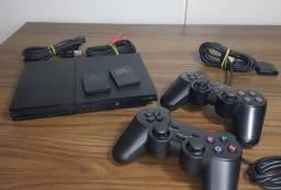 PS2 + 02 Controle ( Ate 12x Com acrescimo )
