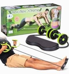 Kit Musculação Exercícios Elástico + Roda Treino Completo Revoflex