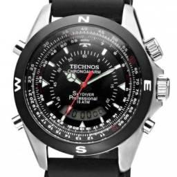 Relógio Masculino Technos Digital - Prata e Preto