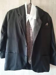Terno infantil: camisa, calça, gravata e casaco. Tam. 12