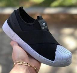Tenis Adidas slip on elástico e super star ( 115 com entrega)