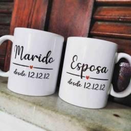 kit 2 canecas personalizada marido e esposa, dia dos namorados, casal,noivos, casados
