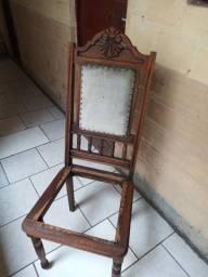 Cadeira antiga encosto entalhado mao p/ restaurar
