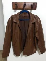 Jaqueta de Couro Masculina Marrom - Tam M