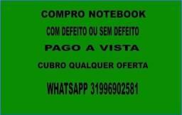 Notebook quebrado com defeito pago avista