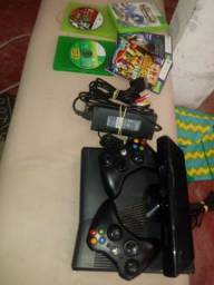 ACEITO CARTÃO EM ATÉ 12X! Xbox 360 + KINECT + 2 CONTROLE+ 5 JOGOS E CABOS