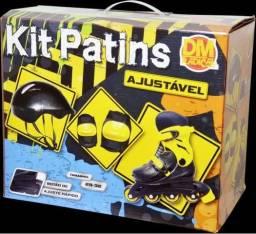 Kit patins roller infantil adulto ajustavel automatico com kit proteção completo 29 32 -