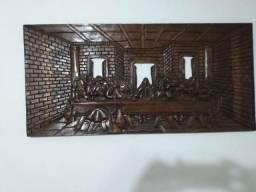 Quadro Santa Ceia esculpido em madeira 109cm x 71 cm