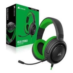 Headset Gamer Corsair HS35 Stereo 2.0 P2 - Preto e Verde - Loja Nata Abreu