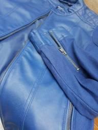 Jaqueta jeans e couro sintético azul bic g