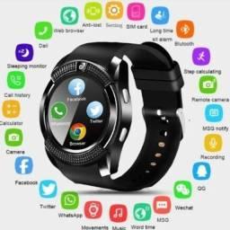 Relógio Inteligente Funções Celular Bluetooth com Câmera V8