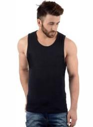 Camiseta Regata 100% Algodão Fio 30.1 penteado Básica Masculina Preta (Nova)