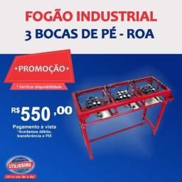 Título do anúncio: Fogão Industrial 3 bocas de pé / marca roa ? Entrega grátis