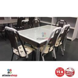 Mesa 6 cadeiras Tampo de Vidro 1,46 x ,80