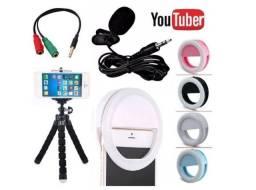 Kit Microfone De Lapela Para Celular Smartphone+Flash Led Anel Recarregável+Mini Tripé
