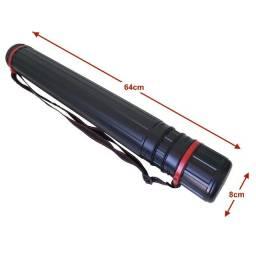 Tubo Telescópico Plástico Extensível 64-100cm Diâmetro 8cm Preto/Vermelho