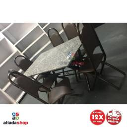 Jogo de mesa 6 cadeiras Tampo de Mármore 1,50 x ,80