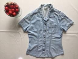 Título do anúncio: Camisa Jeans Feminina Azul Médio Denim médio bolsos botões Manga Curta